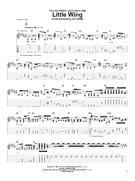 Jimi Hendrix Little Wing sheet music notes and chords. Download Printable PDF.