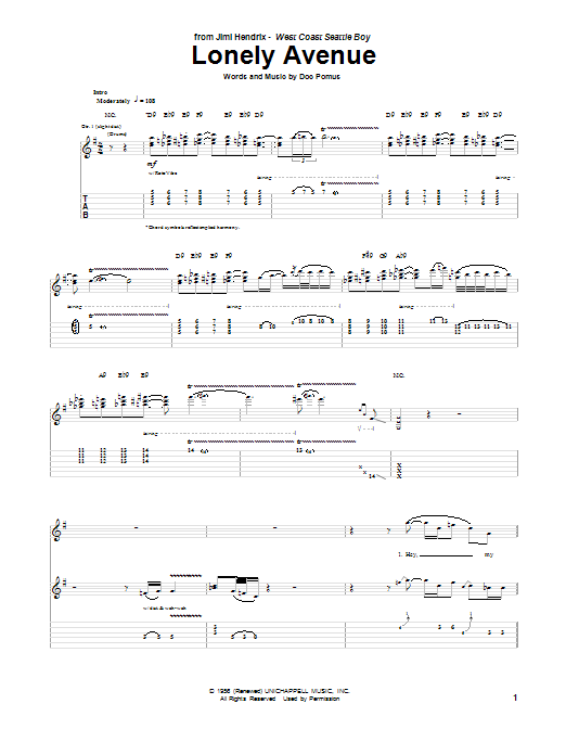 Jimi Hendrix Lonely Avenue sheet music notes and chords. Download Printable PDF.