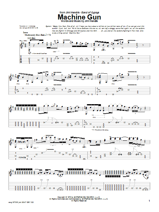 Jimi Hendrix Machine Gun sheet music notes and chords. Download Printable PDF.