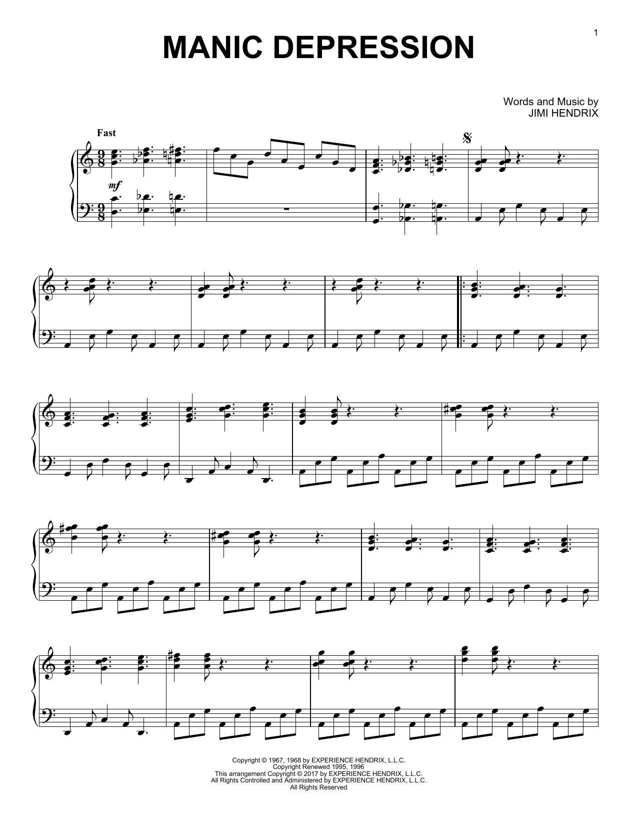 Jimi Hendrix Manic Depression [Jazz version] sheet music notes and chords. Download Printable PDF.