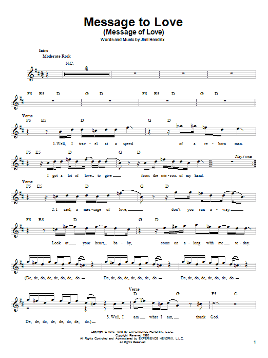 Jimi Hendrix Message To Love (Message Of Love) sheet music notes and chords. Download Printable PDF.