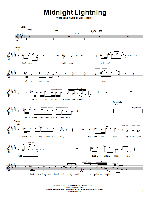 Jimi Hendrix Midnight Lightning sheet music notes and chords. Download Printable PDF.