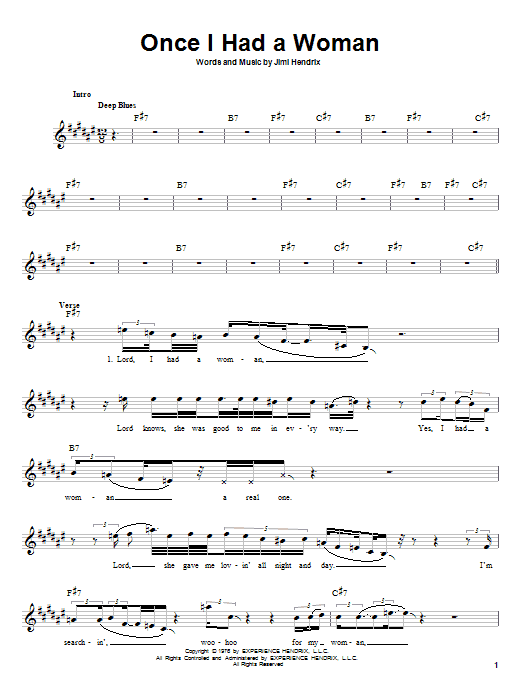 Jimi Hendrix Once I Had A Woman sheet music notes and chords. Download Printable PDF.