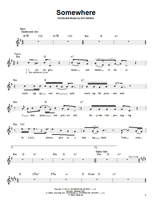 Jimi Hendrix Somewhere sheet music notes and chords. Download Printable PDF.