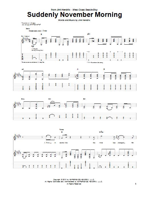 Jimi Hendrix Suddenly November Morning sheet music notes and chords. Download Printable PDF.