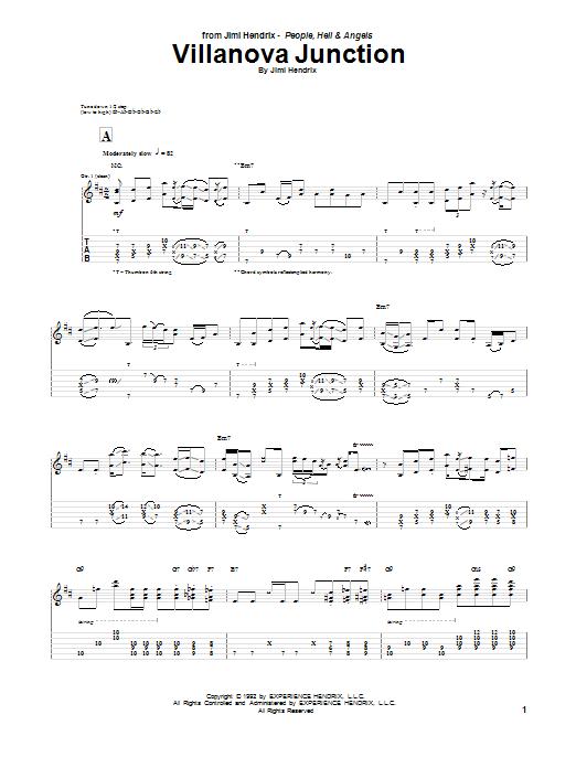 Jimi Hendrix Villanova Junction sheet music notes and chords. Download Printable PDF.