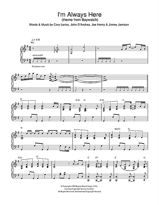 Jimi Jamison I'm Always Here (theme from Baywatch) sheet music notes and chords