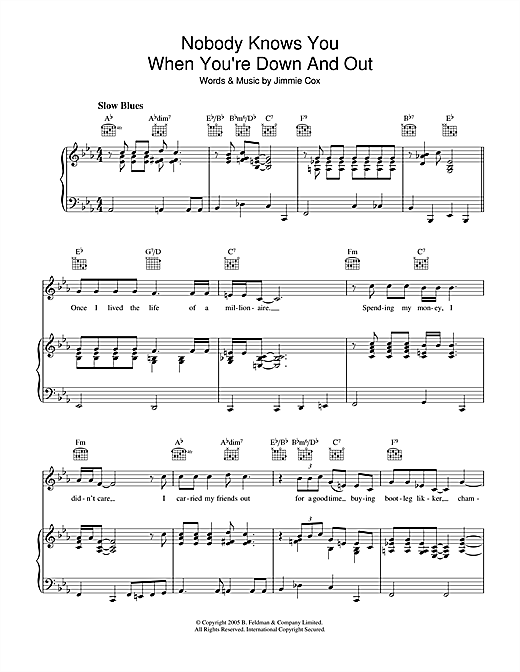 Jimmie Cox Nobody Knows You When You're Down And Out sheet music notes and chords. Download Printable PDF.
