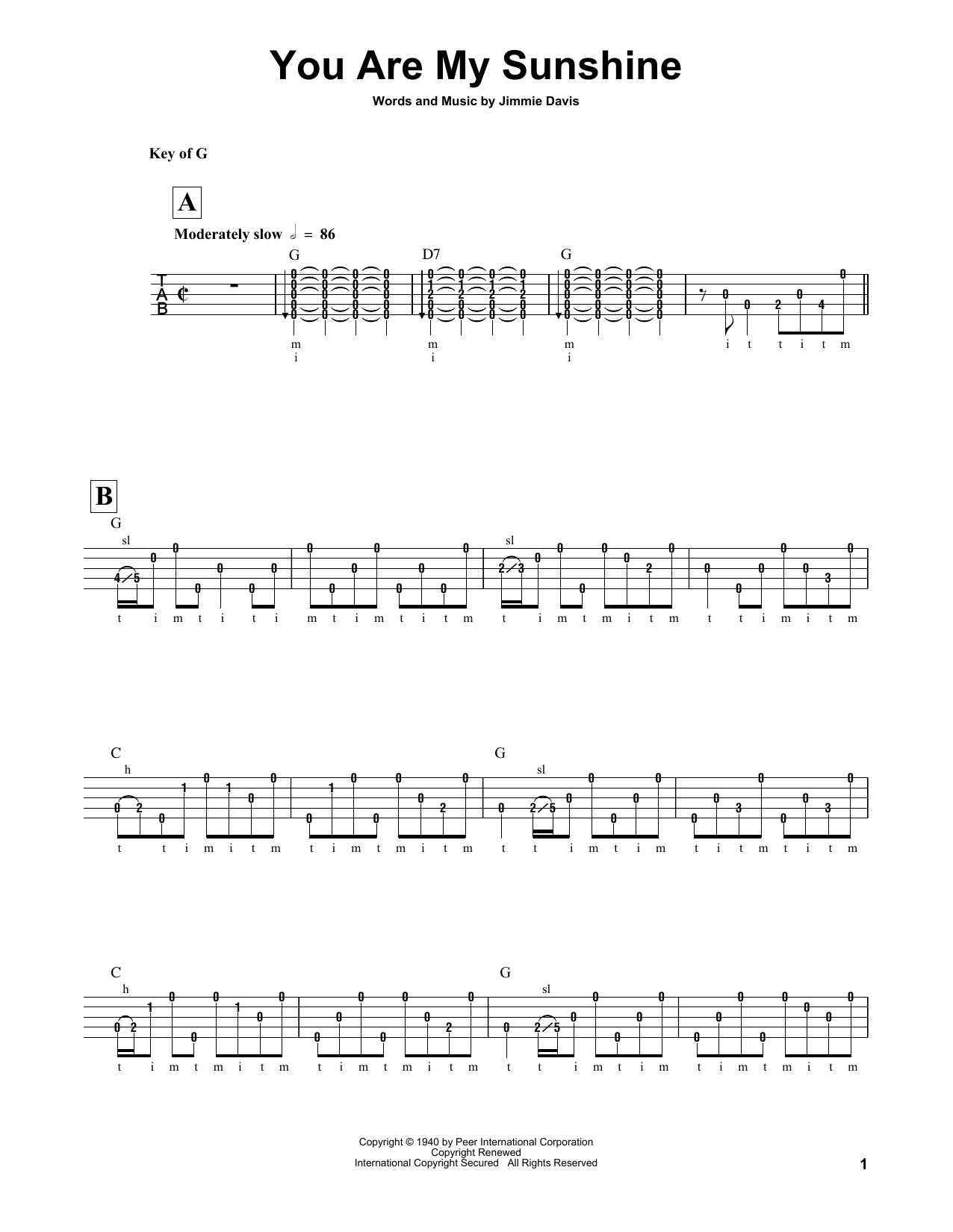 Jimmie Davis You Are My Sunshine sheet music notes and chords. Download Printable PDF.
