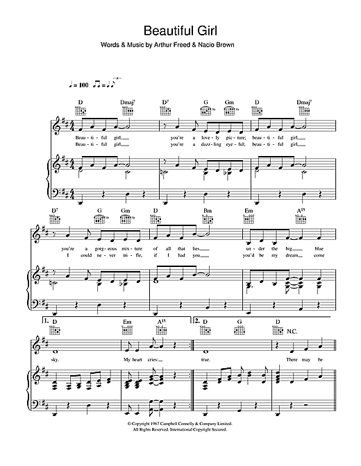 Jimmie Thompson Beautiful Girl (from Singin' In The Rain) sheet music notes and chords. Download Printable PDF.