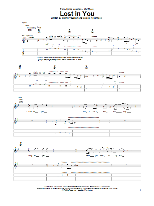 Jimmie Vaughan Lost In You sheet music notes and chords. Download Printable PDF.