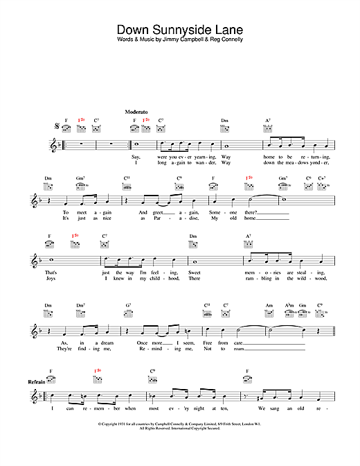 Jimmy Campbell and Reg Connelly Down Sunnyside Lane sheet music notes and chords. Download Printable PDF.
