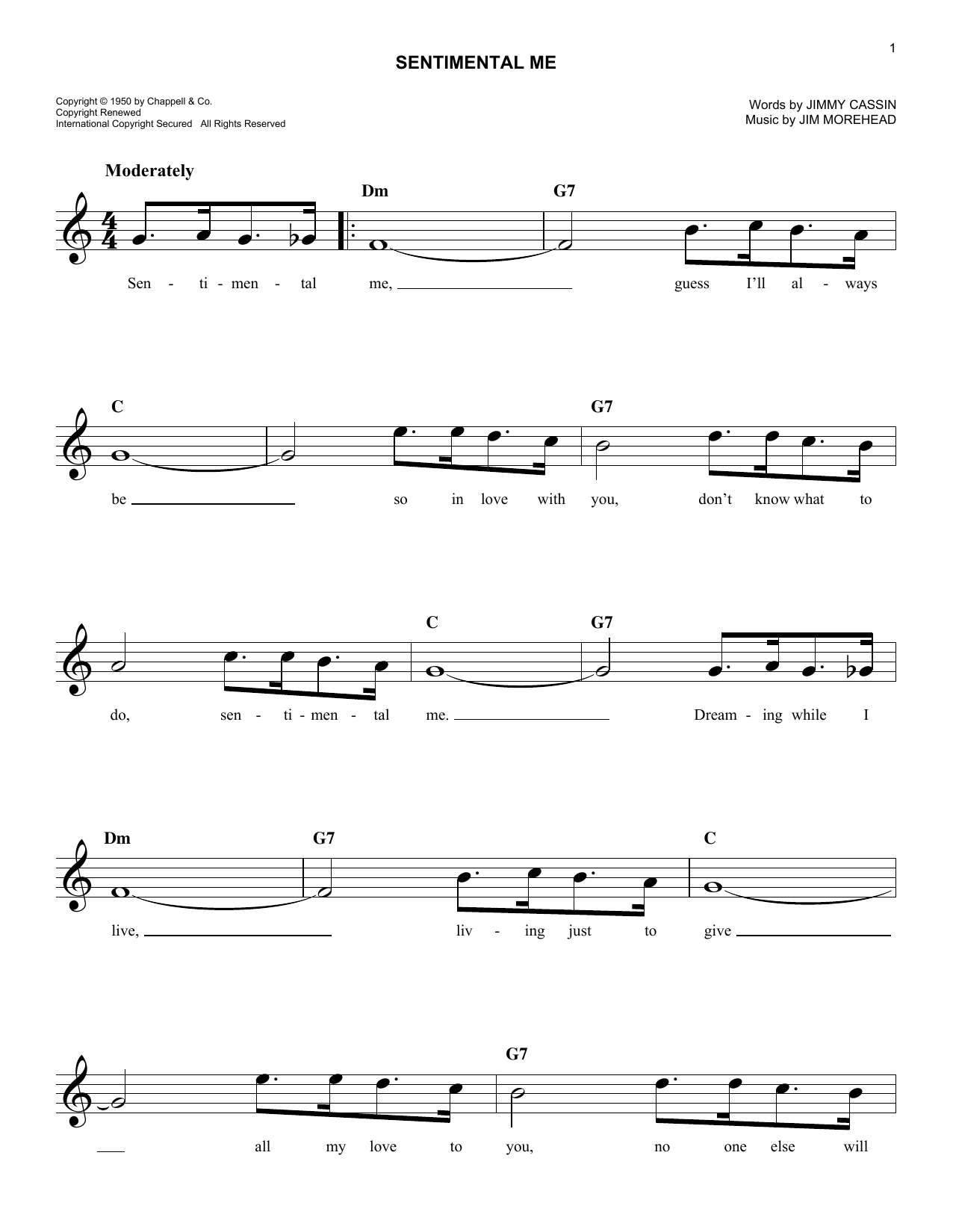 Jimmy Cassin Sentimental Me sheet music notes and chords. Download Printable PDF.