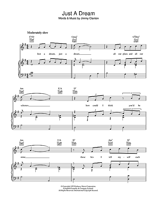 Jimmy Clanton Just A Dream sheet music notes and chords. Download Printable PDF.
