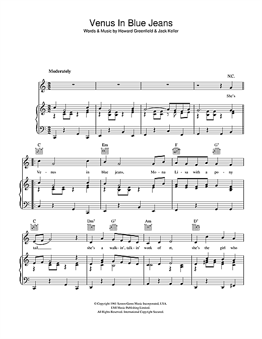 Jimmy Clanton Venus In Blue Jeans sheet music notes and chords