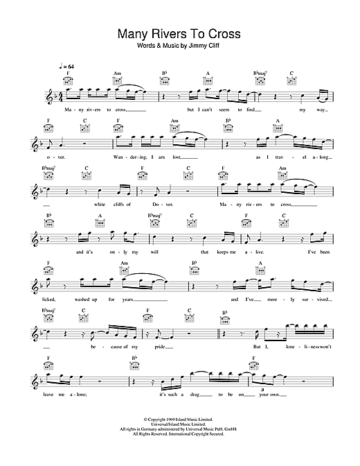 Jimmy Cliff Many Rivers To Cross sheet music notes and chords. Download Printable PDF.
