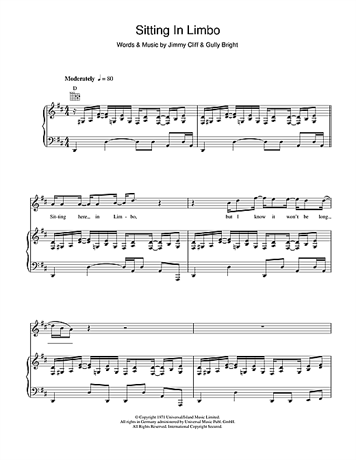 Jimmy Cliff Sitting In Limbo sheet music notes and chords. Download Printable PDF.