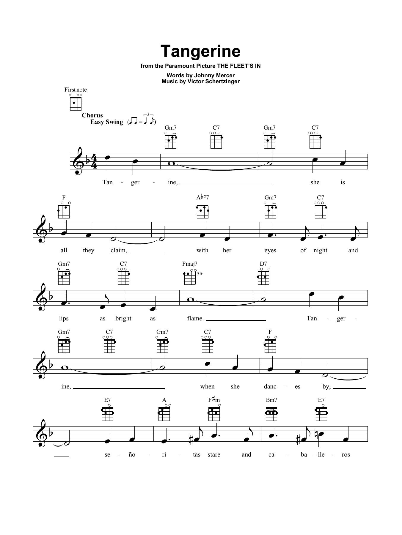 Jimmy Dorsey & His Orchestra Tangerine sheet music notes and chords. Download Printable PDF.