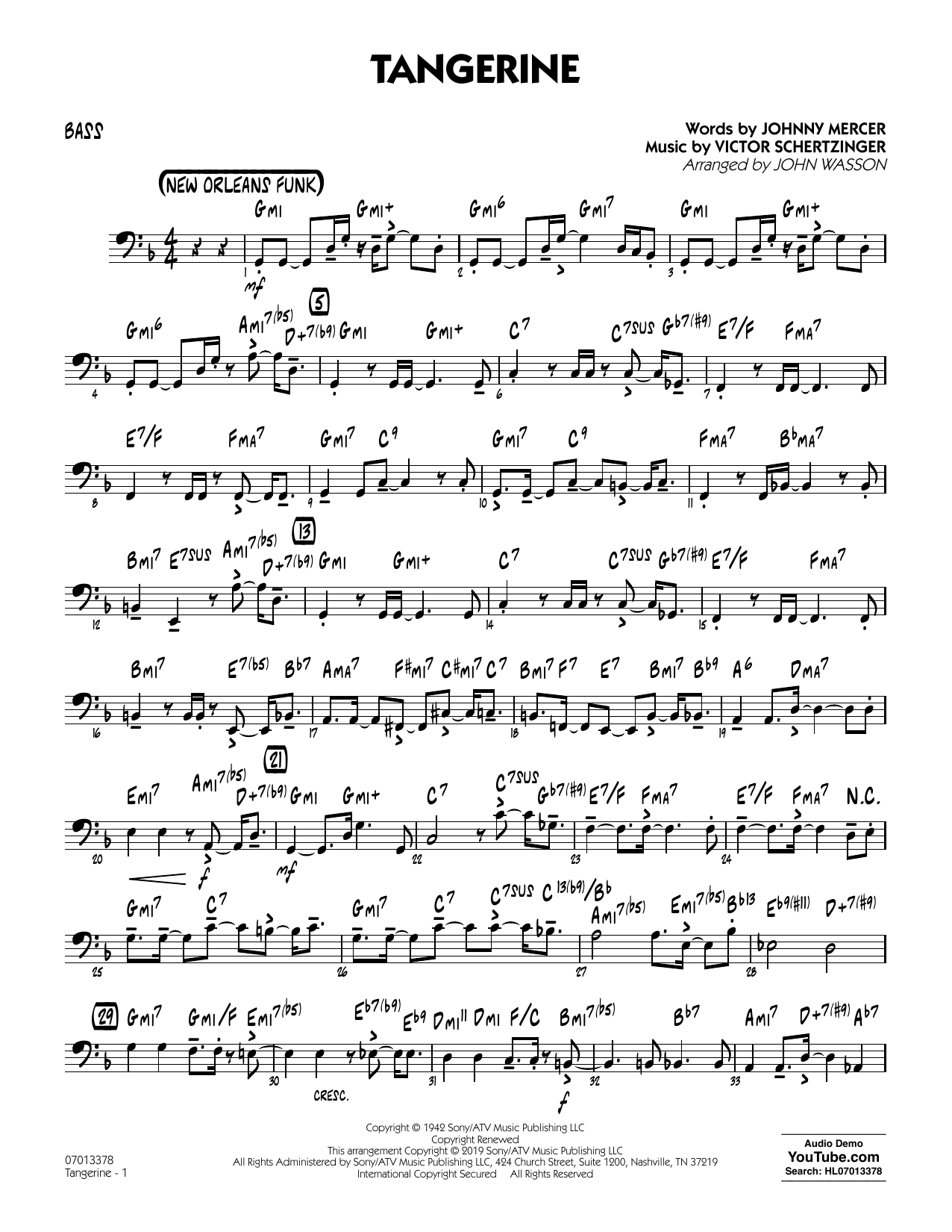 Jimmy Dorsey & His Orchestra Tangerine (arr. John Wasson) - Bass sheet music notes and chords. Download Printable PDF.