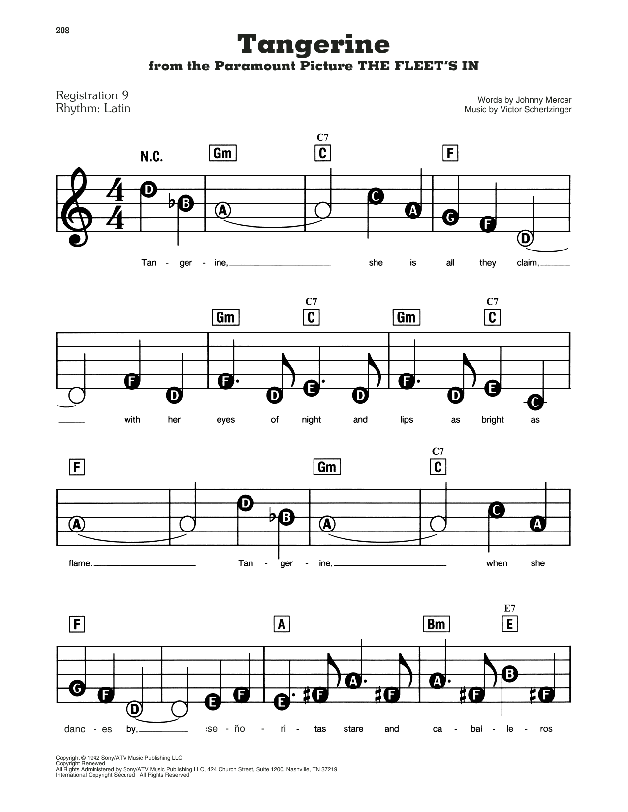 Jimmy Dorsey & His Orchestra Tangerine (from The Fleet's In) sheet music notes and chords. Download Printable PDF.
