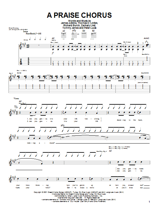 Jimmy Eat World A Praise Chorus sheet music notes and chords