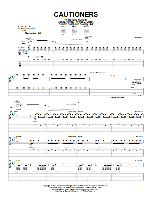 Jimmy Eat World Cautioners sheet music notes and chords. Download Printable PDF.