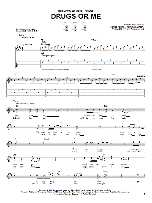 Jimmy Eat World Drugs Or Me sheet music notes and chords. Download Printable PDF.