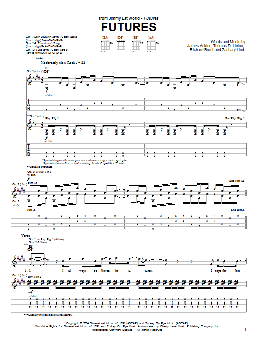 Jimmy Eat World Futures sheet music notes and chords