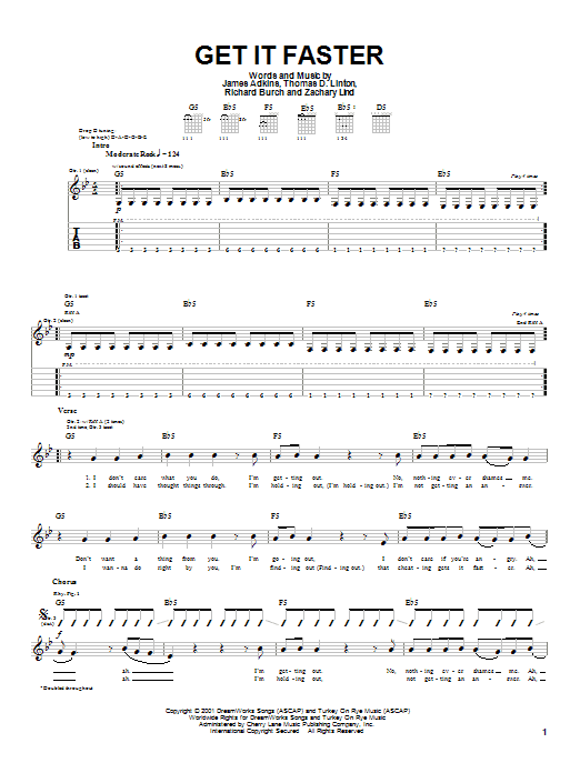 Jimmy Eat World Get It Faster sheet music notes and chords. Download Printable PDF.