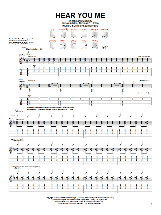 Jimmy Eat World Hear You Me sheet music notes and chords