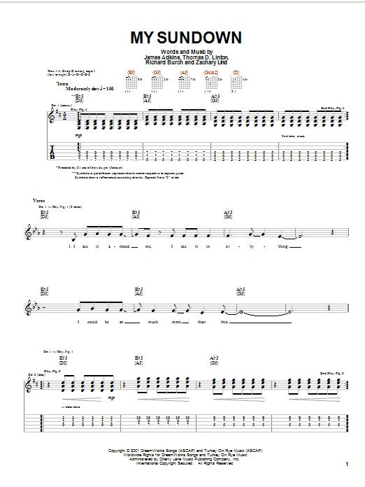 Jimmy Eat World My Sundown sheet music notes and chords