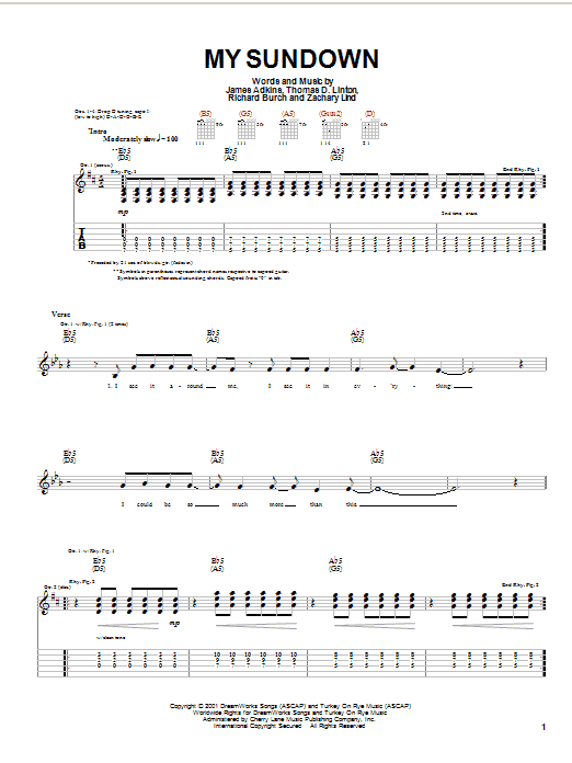 Jimmy Eat World My Sundown sheet music notes and chords. Download Printable PDF.