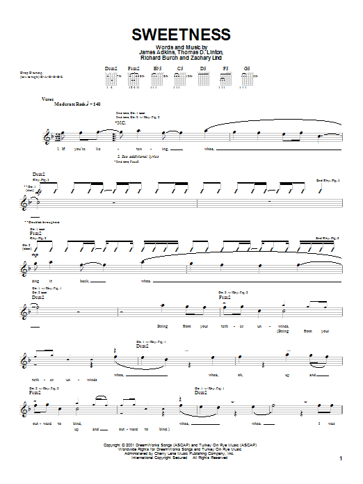 Jimmy Eat World Sweetness sheet music notes and chords
