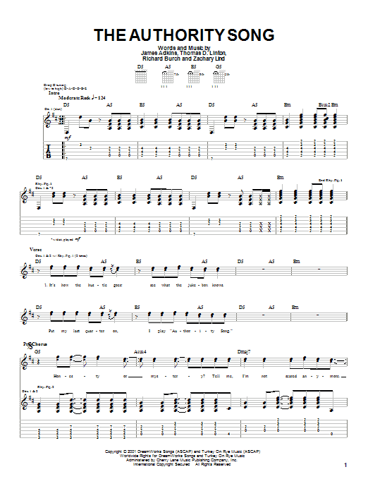 Jimmy Eat World The Authority Song sheet music notes and chords. Download Printable PDF.