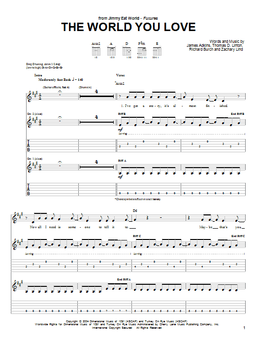 Jimmy Eat World The World You Love sheet music notes and chords