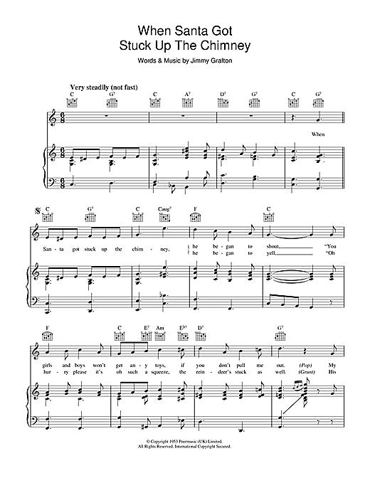Jimmy Grafton When Santa Got Stuck Up The Chimney sheet music notes and chords. Download Printable PDF.