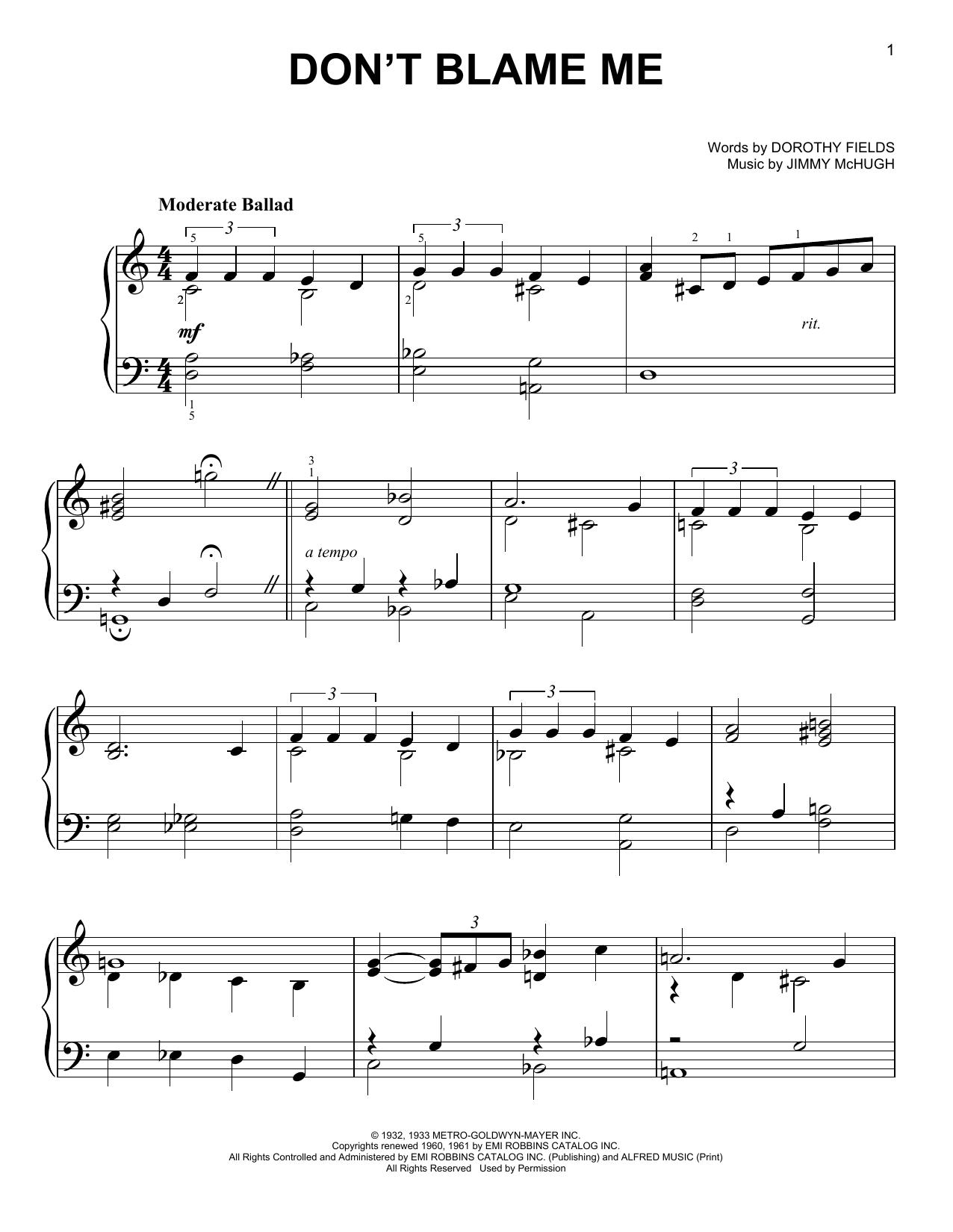 Jimmy McHugh Don't Blame Me sheet music notes and chords. Download Printable PDF.