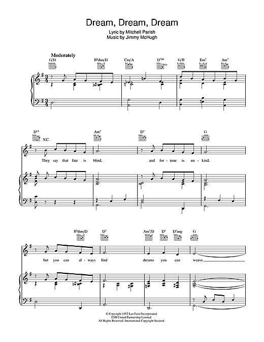 Jimmy McHugh Dream Dream Dream sheet music notes and chords