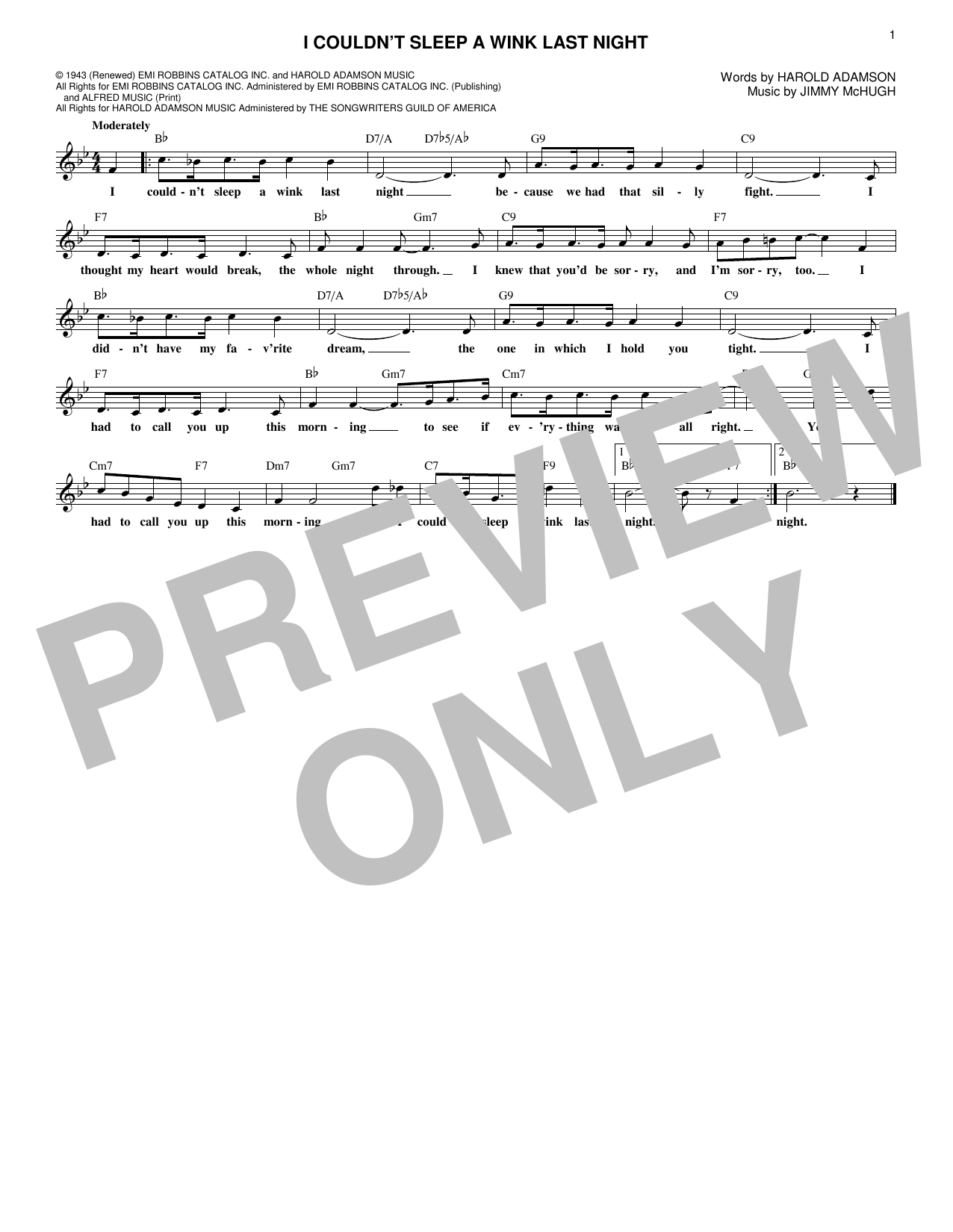 Jimmy McHugh I Couldn't Sleep A Wink Last Night sheet music notes and chords. Download Printable PDF.