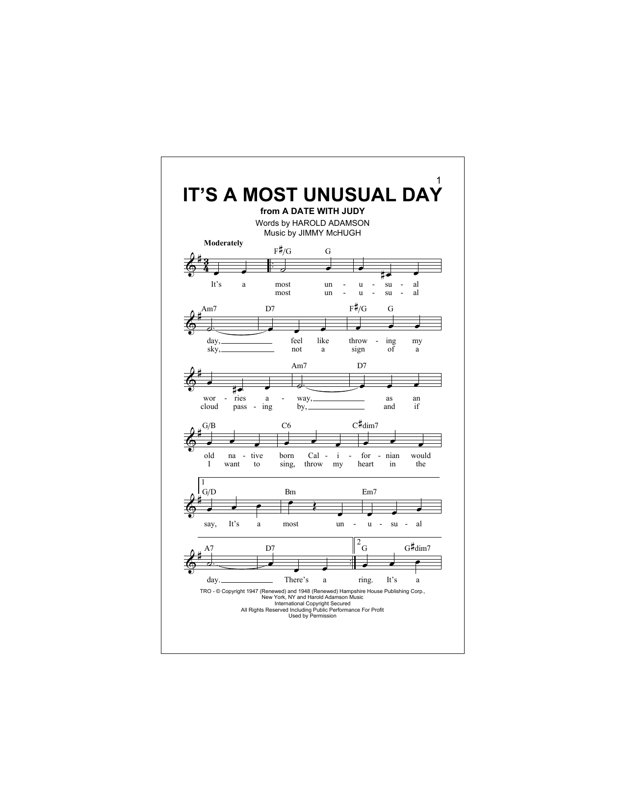 Jimmy McHugh It's A Most Unusual Day sheet music notes and chords. Download Printable PDF.