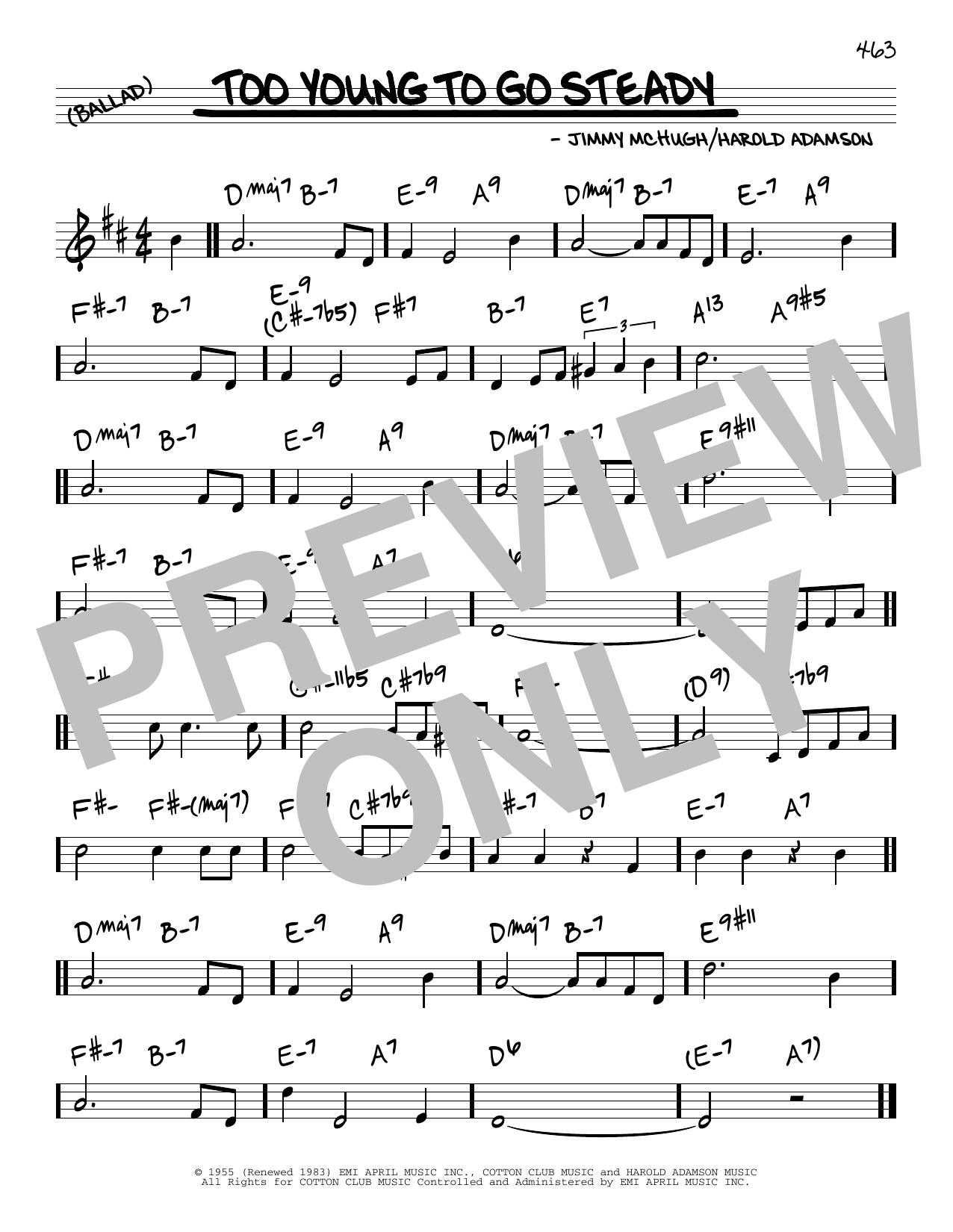 Jimmy McHugh Too Young To Go Steady sheet music notes and chords. Download Printable PDF.