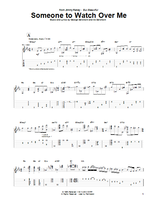 Jimmy Raney Someone To Watch Over Me sheet music notes and chords. Download Printable PDF.