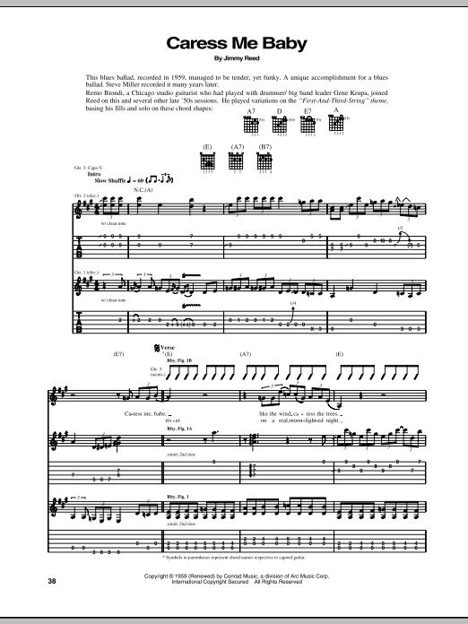 Jimmy Reed Caress Me Baby sheet music notes and chords. Download Printable PDF.