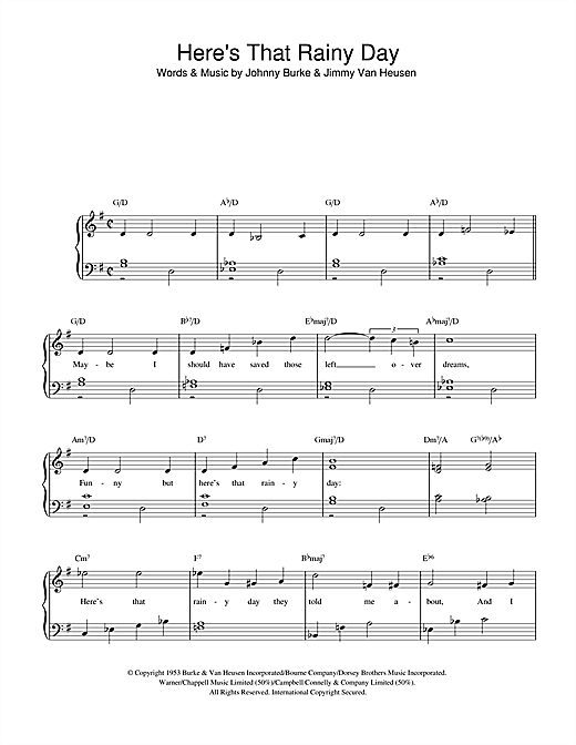 Jimmy Van Heusen Here's That Rainy Day sheet music notes and chords. Download Printable PDF.