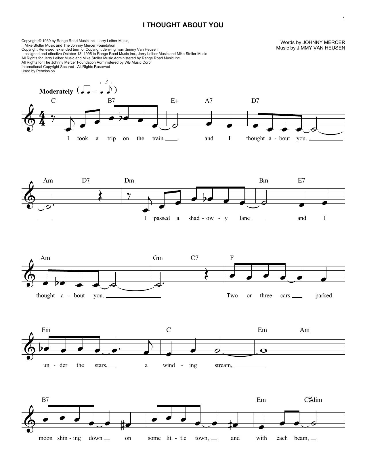 Jimmy Van Heusen I Thought About You sheet music notes and chords. Download Printable PDF.