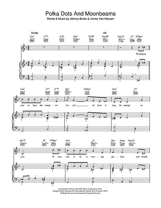 Jimmy Van Heusen Polka Dots And Moonbeams sheet music notes and chords