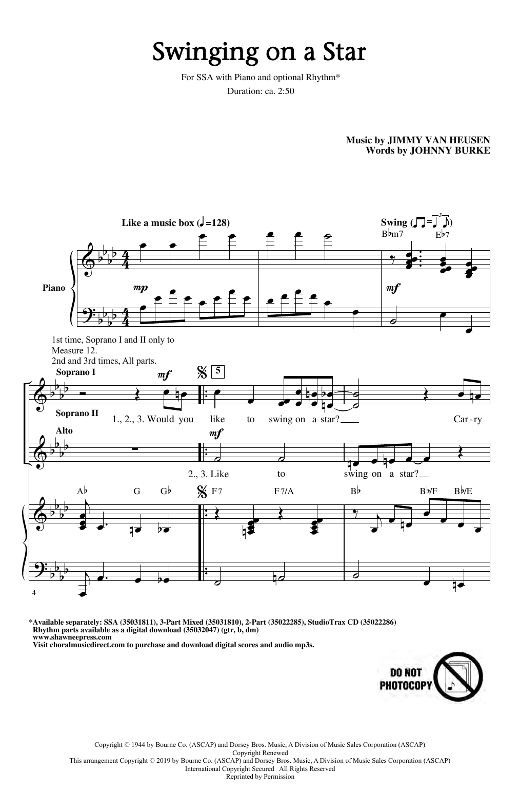 Jimmy Van Heusen Swinging on a Star (arr. Greg Gilpin) sheet music notes and chords