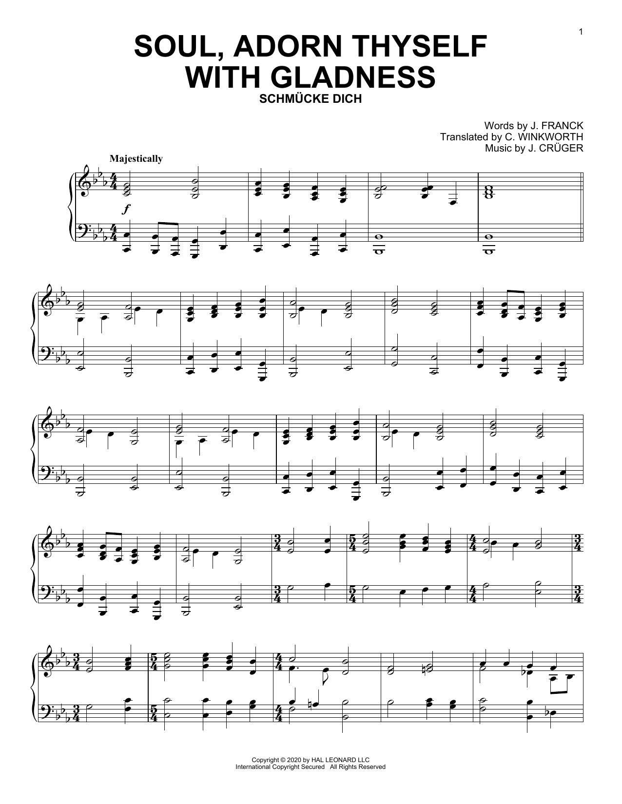 J. Cruger Soul, Adorn Thyself With Gladness Sheet Music Notes, Chords    Download Printable Piano Solo PDF Score   SKU 15