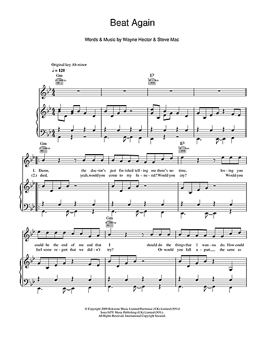 JLS Beat Again sheet music notes and chords. Download Printable PDF.