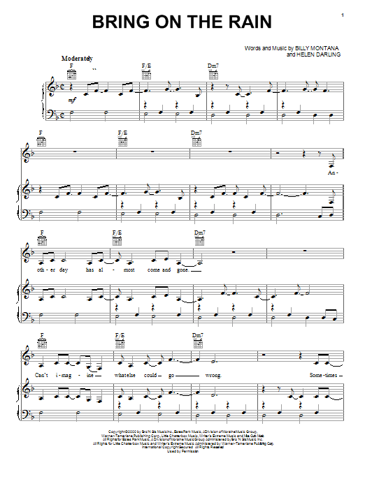 Jo Dee Messina Bring On The Rain sheet music notes and chords. Download Printable PDF.